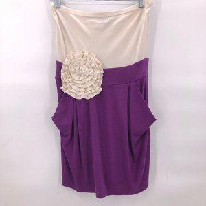 NWOT Bebe strapless cream purple dress